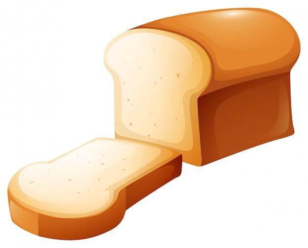 빵 덩어리와 단일 슬라이스