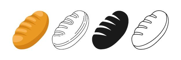 一斤のパン、線とグリフ、漫画のアイコンセット手描きの焼きたてのパン屋ショップ