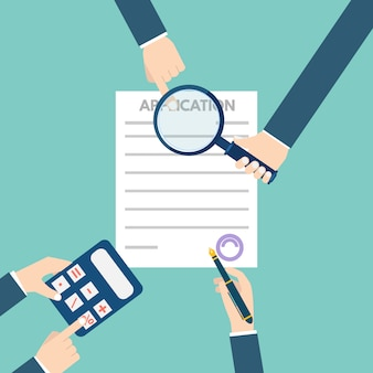 Loan application form document concept.