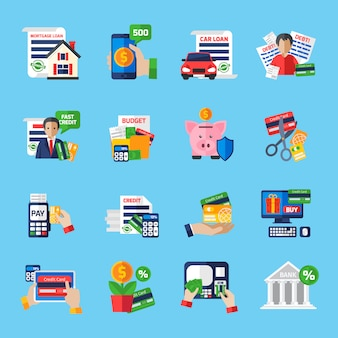 Loan debt flat color icons set