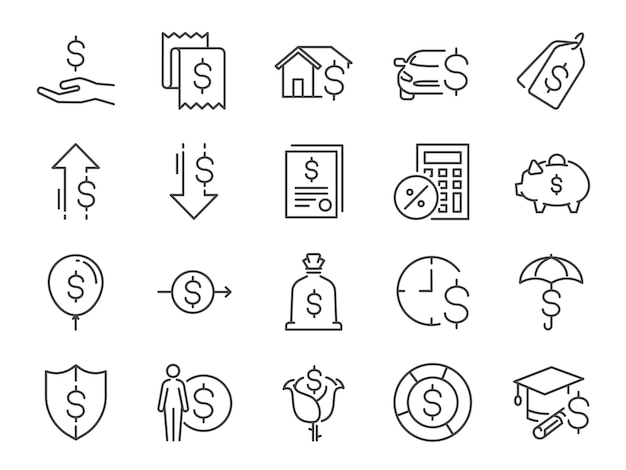 Loan and interest icon set.