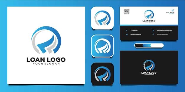Loan logo design and business card premium vector