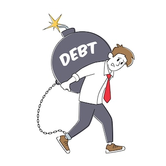 Loan payment, taxation concept. tired businessman character carry huge round bomb with burning fuse