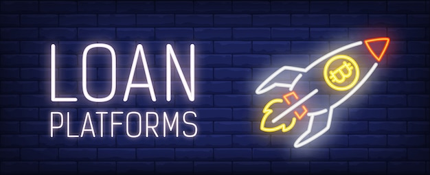 Loan platform illustration in neon style. text, rocket with bitcoin symbol