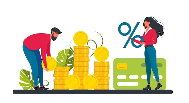 Loan with huge interest rate. tiny woman and man holding a percent sign and coin, credit card. relationship finances. investment. financial well-being. vector illustration