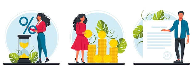 Loan with interest rate, banking service. people with a huge percent sign, hourglass, a bunch of coins, sign a document. vector illustration