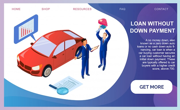Loan without down payment, buying car. landing page web template