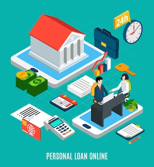 Loans isometric composition of personal loaning online service elements with touch screen gadgets