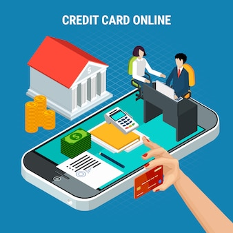 Loans isometric composition with conceptual images of smartphone and payment elements with bank and people vector illustration