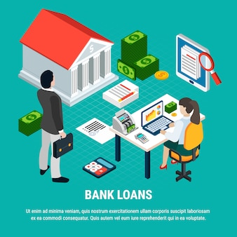 Loans isometric composition with editable text elements of money and document papers with human characters