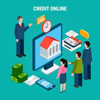 Кредиты изометрической композиции с человеческими персонажами банковского работника и клиентов с финансовыми элементами пиктограмм векторная иллюстрация