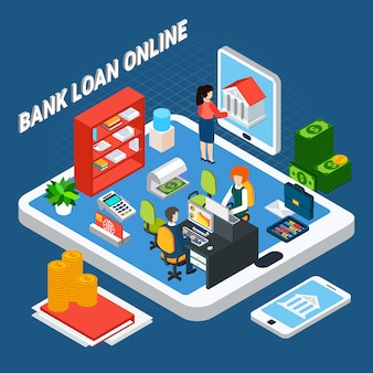 Loans isometric composition with pieces of bank office furniture and clerks on top of tablet