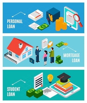 Loans isometric horizontal banners set with three compositions of financial documents and people with text