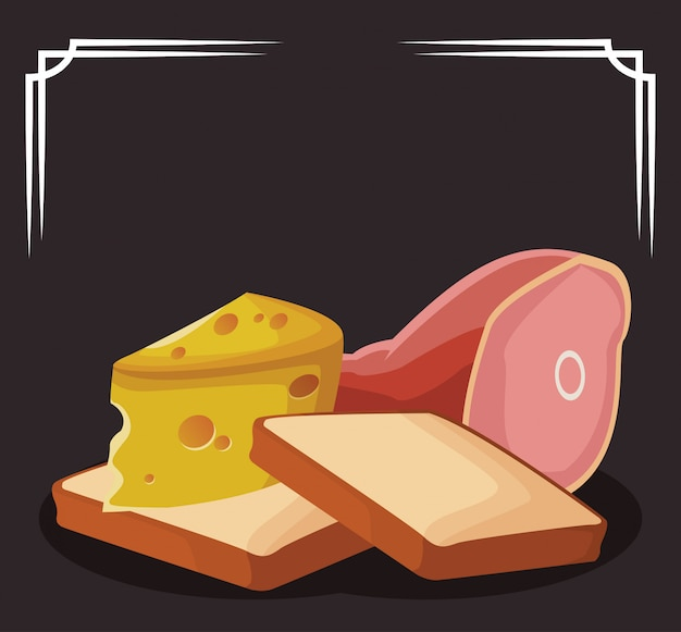Loaves with piece of cheese and ham leg