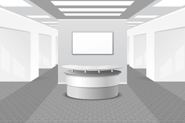 ロビーまたはレセプションのインテリア。オフィスや家具、ビジネスホール、ホテルのカウンター、