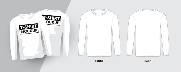 Шаблон футболки с рукавами лобга, контурные иллюстрации