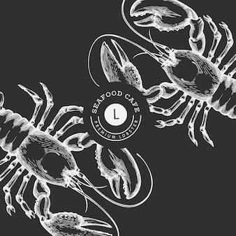 Lobster banner template. hand drawn   seafood illustration on chalk board. engraved style. vintage sea animal background