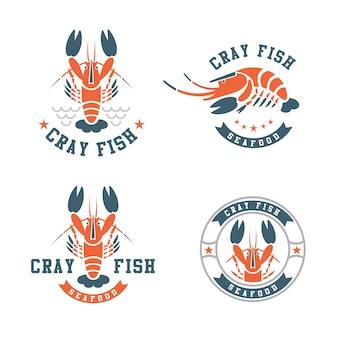 Lobster or crayfish red symbol logo vector