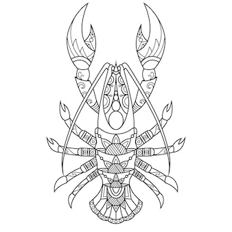 Lobster drawn in doodle style