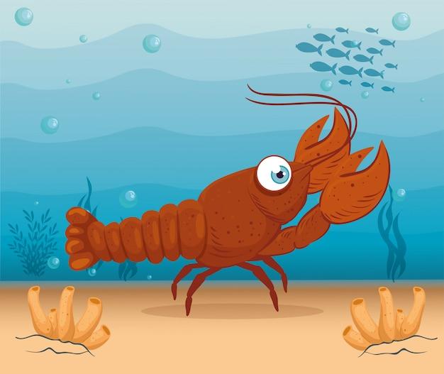 바다에서 바다 가재 해양 동물, 씨월드 거주자, 귀여운 수중 생물, 해저 동물 군