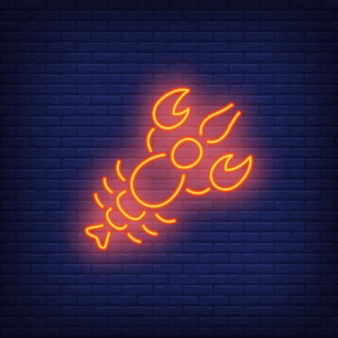 Lobster on brick background. Neon style illustration. Beer snack, seafood restaurant