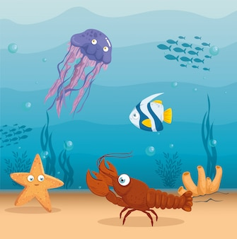 Lobster with fish and wild marine animals in ocean, seaworld dwellers, cute underwater creatures,habitat marine concept