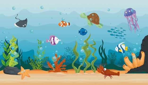 Lobster with fish and wild marine animals in ocean, seaworld dwellers, cute underwater creatures,habitat marine concept