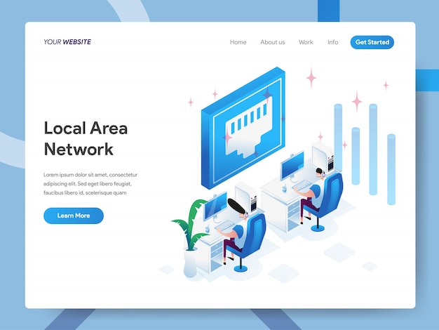 Local area network isometric illustration for website page
