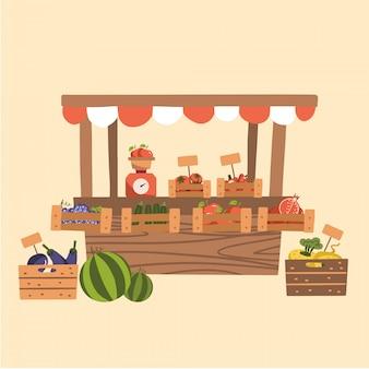 ファーマーズマーケットの地元の秋の食材。木製の市場の屋台で有機性果物、野菜。スケール付きカウンター。フラットの図。