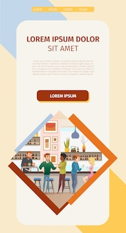 Local bar or pub website flat vector template