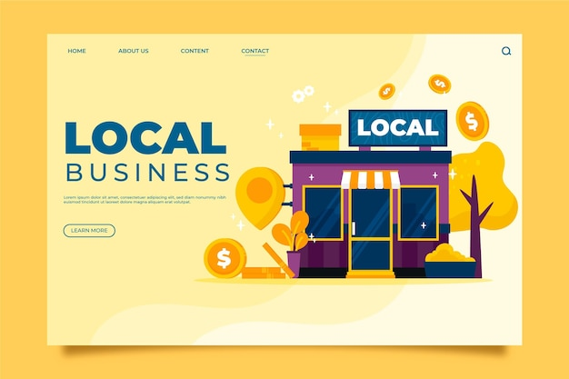 Local business landing page concept