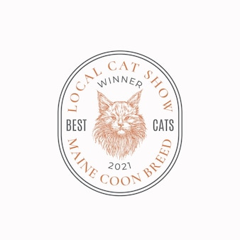 Local cat exhibition frame badge or logo template hand drawn maine coon breed face sketch