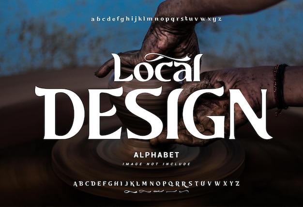 «местный дизайн» абстрактный современный алфавитный шрифт. типографские шрифты: обычные прописные и строчные буквы.
