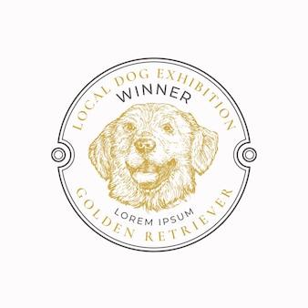 地元の犬の展示フレームバッジまたはロゴテンプレート手描きのゴールデンレトリバーの品種の顔のスケッチ