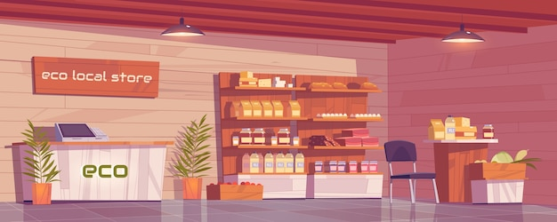 Local eco store empty interior, grocery shop with ecological production on wooden shelves.