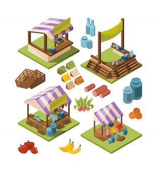 Local farm isometric, food marketplaces with meat vegetables fish grocery country store  isolated