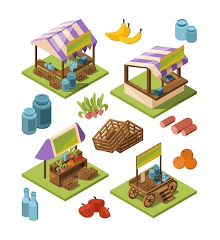 Local farm isometric. outdoor marketplaces with country food fruits vegetables meat industrial store  3d pictures