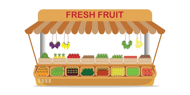 Local farm market fruit shop with fresh fruit in wooden box .
