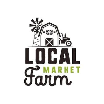 지역 농장 시장 로고 디자인 및 레이블 템플릿입니다. 포함된 농부 기호 - 트랙터, 헛간, 풍차. 검은색과 녹색 색상입니다. 흰색 배경에 고립. 벡터 상징입니다.