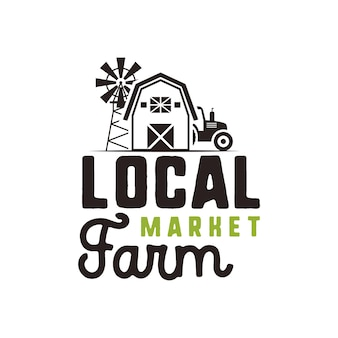 Local farm market logo design and label template. included farmer symbols - tractor, barn, windmill. black and green colors. isolated on white background. vector emblem.