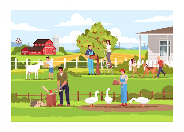 Local farm production semi flat illustration. ranch activities. people feed geese. kids play with dog. man cut wood. summertime vacation. farmers 2d cartoon characters for commercial use