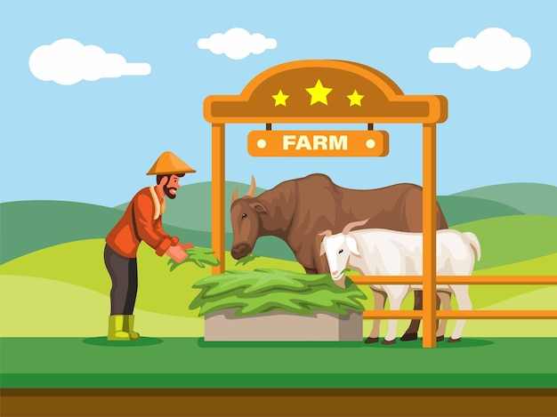 Local farmers feed the cow and goattraditional animal farm in asia illustration vector