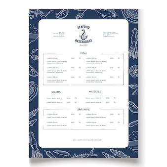 Local fish and seafood restaurant menu template