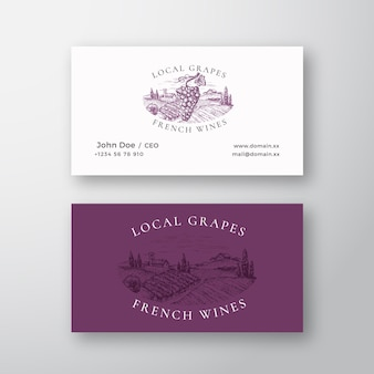 Local grapes french wines vineyard retro abstract vector sign or logo and business card template