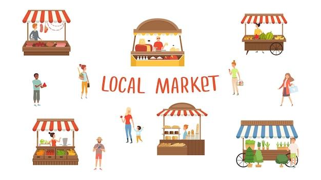 지역 시장. 음식 축제, 판매자 및 고객.