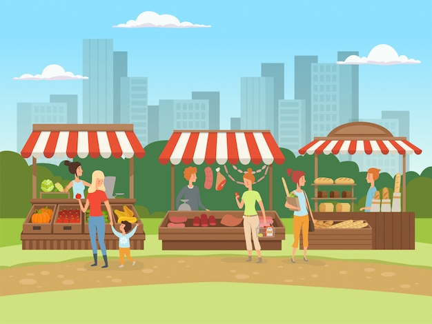 地方市場。果物野菜肉と牛乳の漫画の背景を持つ都市景観バザーの所有者の屋外の食べ物