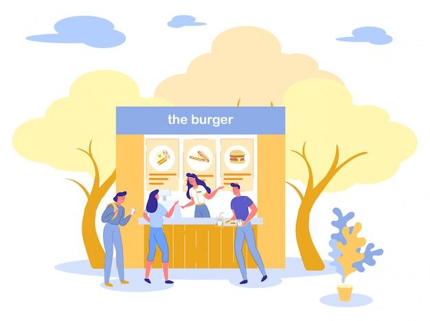 현지 시장 또는 음식 축제 버거 레스토랑.