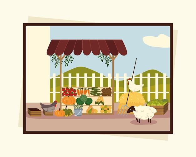 地元の市場の有機食品