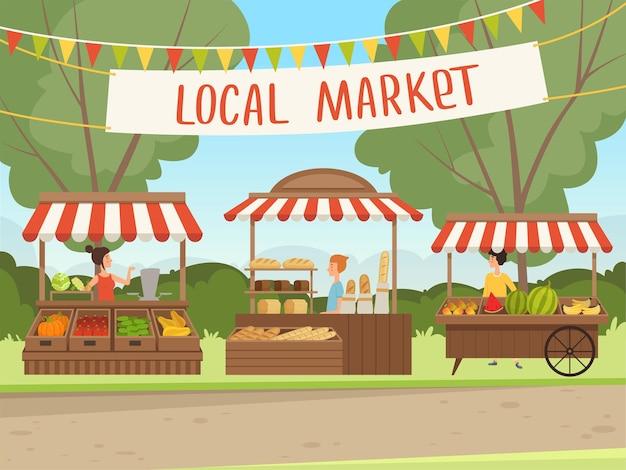 지역 시장. 건강 한 신선한 음식 야채 과일 고기 식료품 점 유기농 제품 배경 쇼핑하는 사람들.