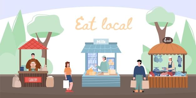 신선한 농민 음식이 있는 도시 거리의 현지 시장 노점